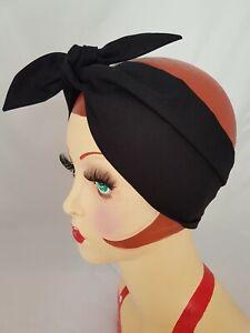 LAND GIRL 40s 50s TIE HEADBAND PLAIN BLACK HEAD SCARF ROCKABILLY WWII