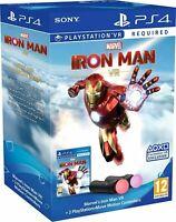 PS4 VR TWIN PLAYSTATION MOVE CONTROLLER BOXSET + IRON MAN GAME + DLC PSVR BUNDLE