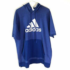 Adidas Hooded Short Sleeve Shirt Hoodie Mens Sz XL