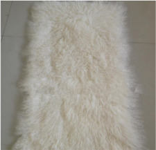 Beige REAL FUR BLANKET THROW MONGOLIAN SHEEPSKIN TIBETAN LAMBSKIN THE BLOCK