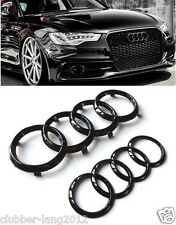 AUDI GLOSS BLACK FRONT BUMPER REAR BOOT RINGS BADGE EMBLEMS Q3 Q5 Q7 A6 A8 SQ5