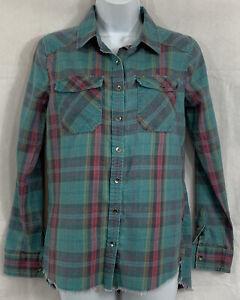 Billabong Petite Button Up Plaid Cotton Vintage Shirt Sz S/P Long Sle Frayed Hem