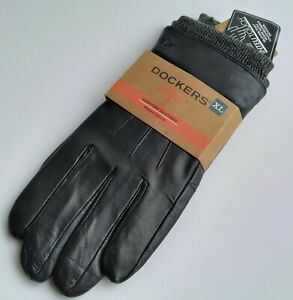Dockers Men's Genuine Leather Fleece Lined Gloves Black Size XL NEW WITH TAG.