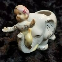 Vintage Japan Porcelain Elephant Planter with Child Riding