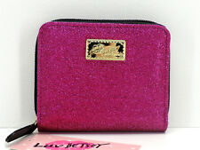Betsey Johnson Luv Betsey Small Zip Around Wallet Clutch Pink Glitter New! NWT