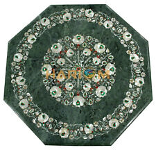 "18"" Green Marble Coffee Table Top Mother of Pearl Floral Inlay Home Decors B190"