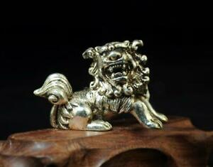 Chinese hand handmade cooper-plating silver lion statue