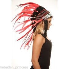 Red Feather Native American Indian Headdress Coachella SH008 USA SELLER