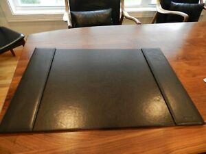 Vintage Levenger Folding Dark Brown Leather Desk Blotter Excellent!