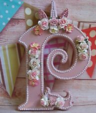 MDF  Wooden UNICORN Personalised Free Standing LETTER NAME INITIAL