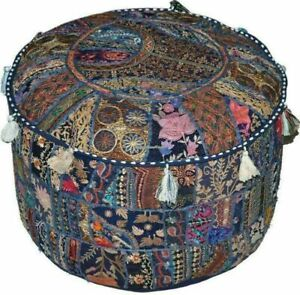Indian Patchwork Cotton Pouffe Cover Handmade Round Beige Ottoman Cover