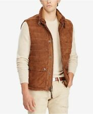 40b2b35a4ac7e Polo Ralph Lauren Men s Quilted Suede Down Vest Brown Leather Sz L