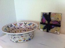 2 NEW Butterfly Theme Items:Decor Ceramic Pierced Bowl & 3 Glass Decor Plate Set