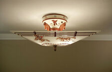 Vintage 1940s Western Ceiling Light Fixture Glass Porcelain Sears Harmony House