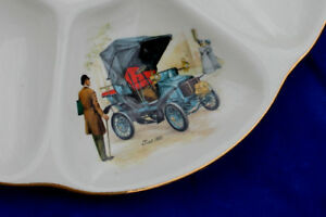 FRENCH OYSTER PORCELAIN COLLECTABLE OLD CAR PLATES BY GIEN PARISIAN