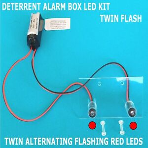 Deterrent Alarm Siren LEDs inc Fixing Kit + (10 Yr Batt) Twin Flashing Red LED's
