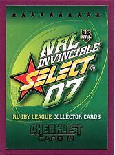 2007 SELECT INVINCIBLE NRL TRADING CARD BASE SET (195)
