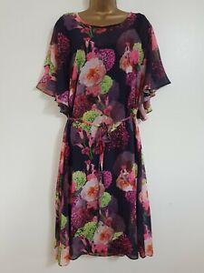 NEW Scarlett & Jo RRP £60.00 Size 16 Floral Chiffon Kimono Dress Pink Purple