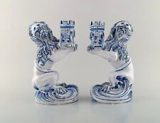 Emile Gallé for Nancy St. Clement. A pair of early and large candlesticks, lions