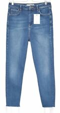 Topshop BINX High Waisted Slim Leg RAW HEM Blue Crop Jeans Size 12 W30 L32