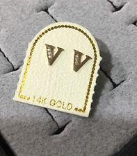US Seller 14K Yellow Gold Initial Letter V Stud Earrings Pair CZ