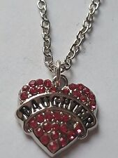 PINK DAUGHTER FAMILY GIFT CRYSTAL LOVE HEART PENDANT RHINESTONE NECKLACE