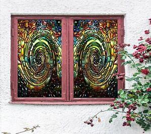 3D Art Swirl I684 Window Film Print Sticker Cling Stained Glass UV Block Amy