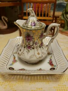 WONDERFUL PORCELAIN HAND PAINTED GERMANY CABINET TABLE CREAMER & UNDERPLATE GOLD