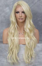 "Lace Front Wig Wavy Layered Heat Safe Pale Blonde L Mono Part 24"" AUR 613"