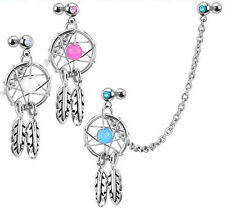 3pcs Chain Linked Dream Catcher with Cartilage/Tragus/Helix Gemmed Barbells