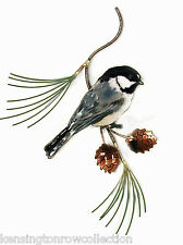 WALL ART - CHICKADEE IN PINE BOUGH METAL WALL SCULPTURE