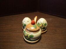 Vintage Luster Salt - Pepper & Mustard Pot with Spoon In Holder - Made in JAPAN