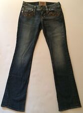 Guess medium wash distressed denim straight leg jeans womens 26 L32 USA