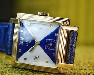 RARE 1950's Vintage Elgin Art Deco Fancy Stepped Case - Stunning Dial {SERVICED}
