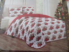 Holiday Christmas Red Truck Quilt Set 3 Piece Full Queen sz 86 x 86 Shams 20x36