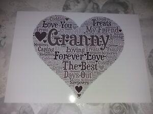 Word Art Nan Nana Nanny Grandma Heart Picture Granny print Gift