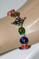 Multi-color Millefiori Art Glass Silver Angel charm Stretch Bracelet 2i 32