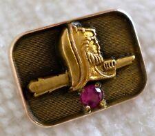 Vintage 10k Gold Viking Tie Tack Norse Warrior Nordic Seafarer Employee Pin CTO