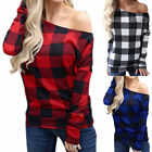 Womens Long Sleeve Plaid One Shoulder Blouse Casual Loose Check T-Shirt Tops US