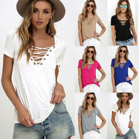 Women V-neck Lace-up Plus Size Pullover T-Shirt Tops Blouse Beach Sexy Shirt Tee