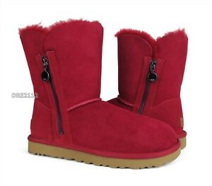 UGG Bailey Zip Short Kiss Suede Fur Boots Womens Size 6 *NEW*