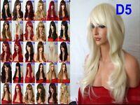 Wavy Curly Straight Ladies Long Full Hair Wig Brown Blonde Auburn Black Red wigs