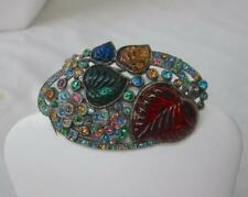 L/N Little Nemo Art Deco Gripoix Brooch Vintage Haute Couture Poured Glass
