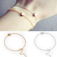 2PCS Korean Women Gold Silver Plated Charm Chain Star Bracelet Fashion Jewelry
