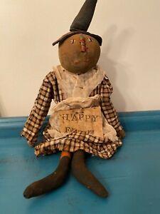 Primitive Halloween Pumpkin Doll Witch Handmade Folkart Fall Decor