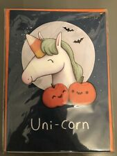 "HALLOWEEN CARD PAPYRUS GREETING CARD UNI-CORN ""HAVE A SUPER MAGICAL HALLOWEEN"""
