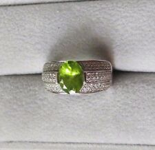 3.11ctw 18k White Gold Peridot and Diamond Ring - 8.1g