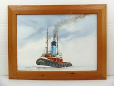 CRESTED COCK TUGBOAT Dunkirk Little Ship ORIGINAL ACRYLIC PAINTING by J CHAPMAN