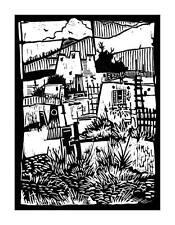 """SOUTHWEST MISSION"" original linocut..handsigned edition 25.. mjonesart"