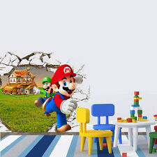 "Mario ""Run Away!"" 3D Broken Wall Window Sticker Removable Size 50*70cm"